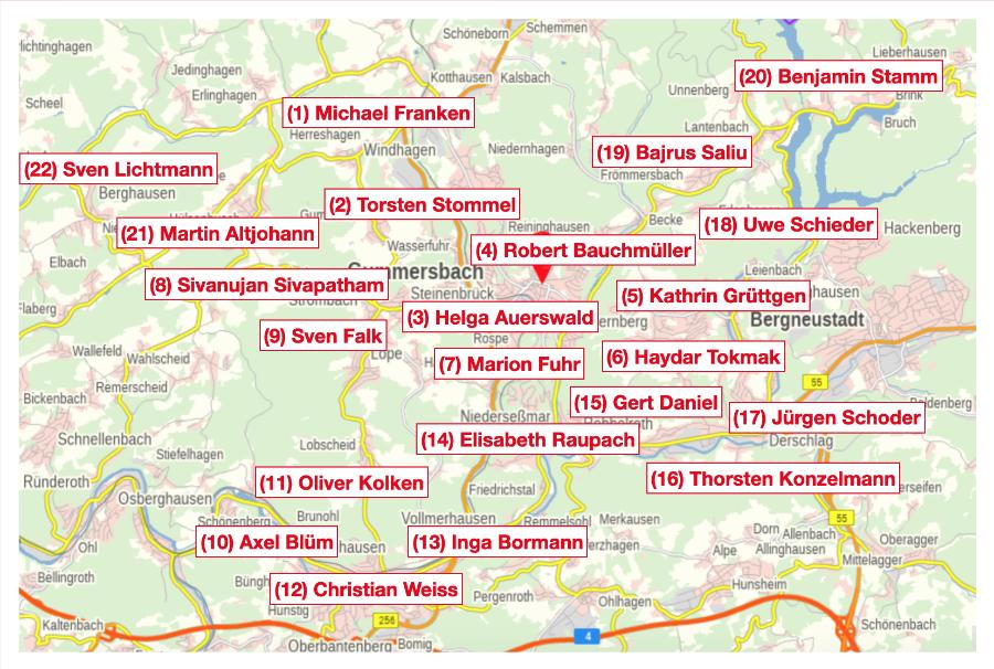 Karte Wahlbezirke und Kandidaten